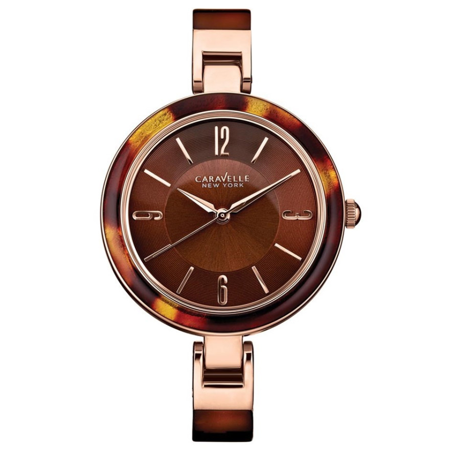 44L137 Caravelle New York Ladies Brown Plastic Strap Watch