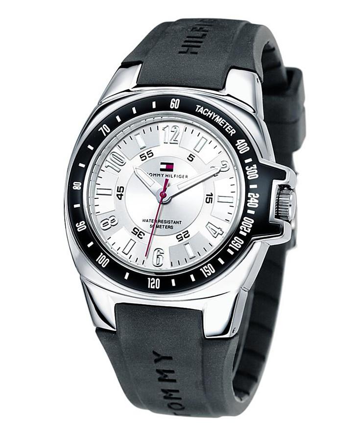 1790485 Tommy Hilfiger Men's Black Leather Strap Watch