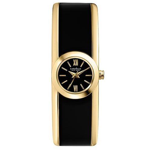 44L147  Caravelle NY Black Gold Bangle Watch