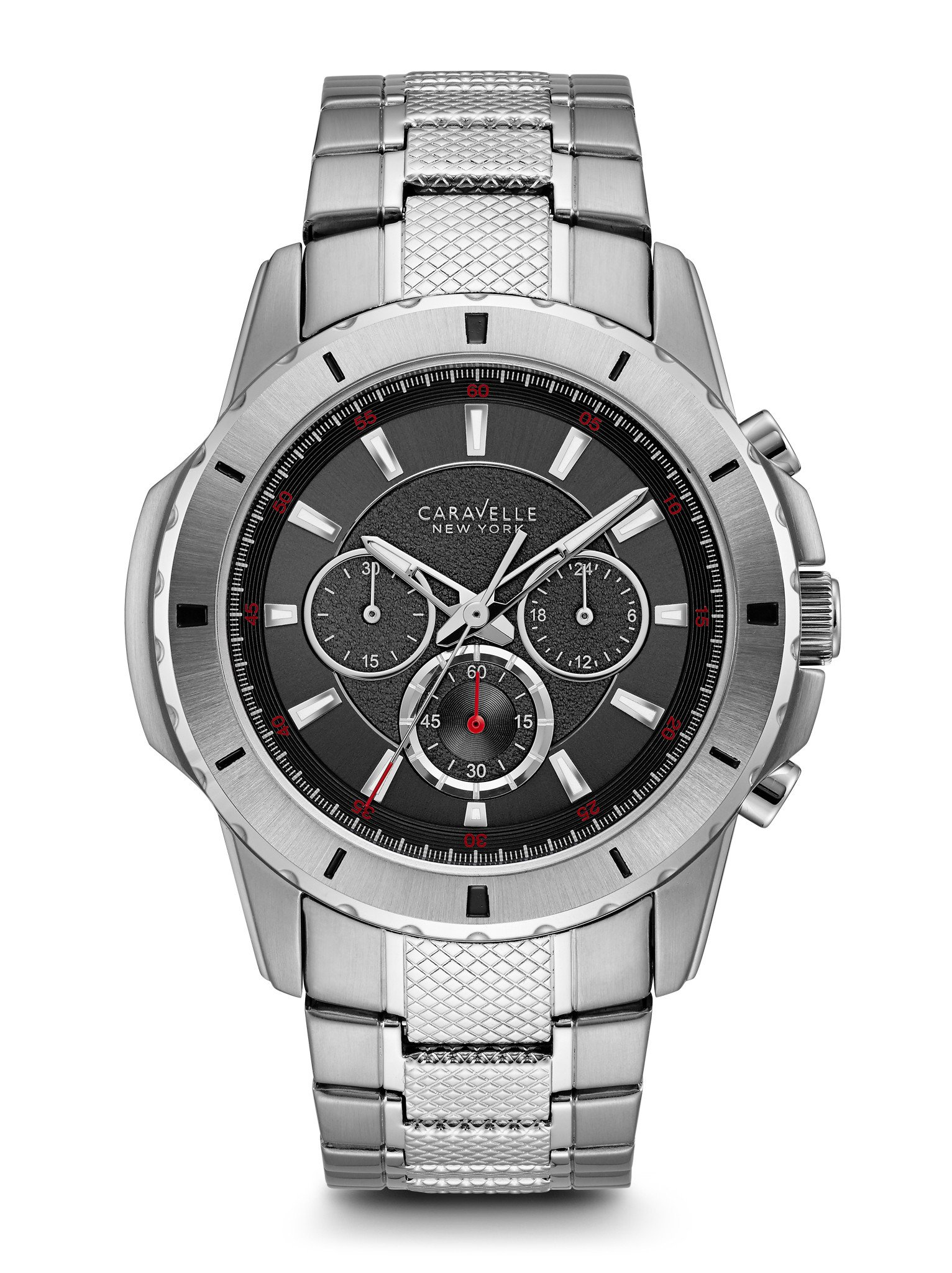 43A137 Caravelle New York by Bulova Men's Black Chronograph Dial Stainless Steel Watch