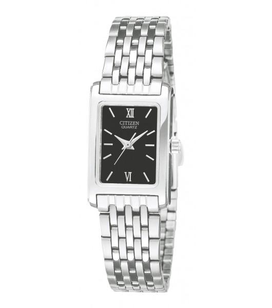 EJ5850-57E Citizen Quartz Women's Rectangle Black Dial Analog Stainless Watch