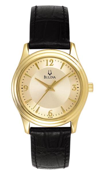 97V25 Bulova Classic Collection Ladies Gold Tone Watch w/ Black Leather Strap