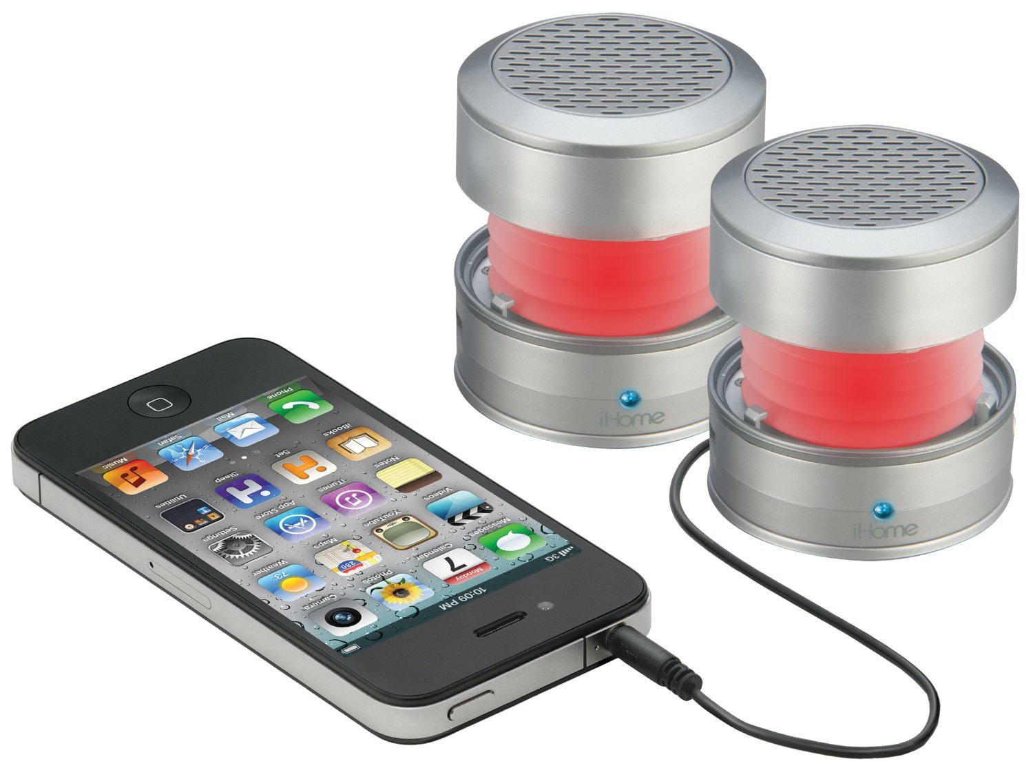 iHM62 iHome 3.5mm Aux Color Changing Portable Stereo Speaker