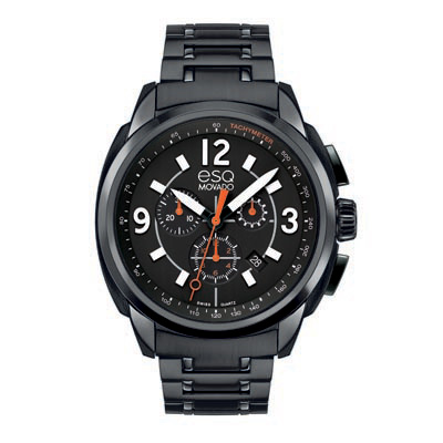 07301418 ESQ Men's Excel Black Ion-Plated Stainless Steel Chronograph Watch with Black Dial