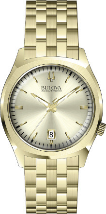 97B134 Bulova Accutron II Champagne Dial Gold Stainless Steel Watch
