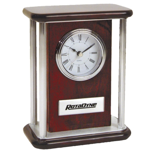T-82 PIANO WOOD® CLOCK WITH SILVER PILLARS