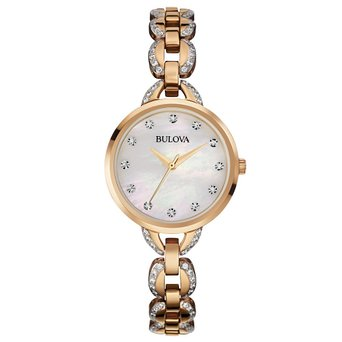 98L207 Bulova Women's Crystal Accented Mother-of-Pearl Dial Watch