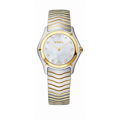 1215371 EBEL Classic Ladies, Two-Tone. White MOP Dial with diamonds.