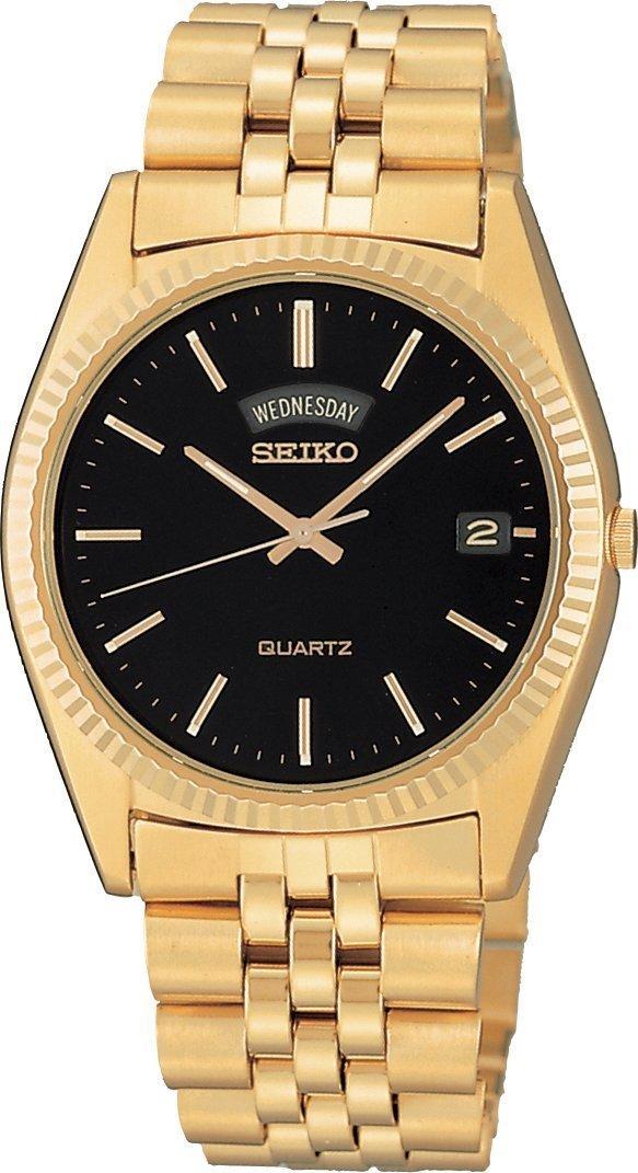 SGF212 Seiko Men's Gold Tone Black Face Watch