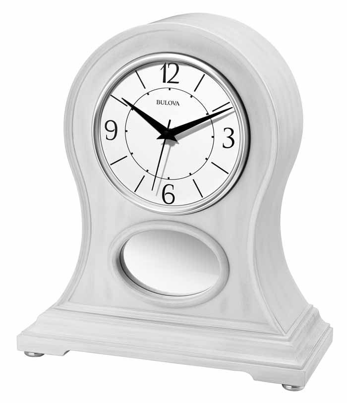 B6216 Bulova Merrick Rubbed White Finish Table Clock Bluetooth enabled Speaker System