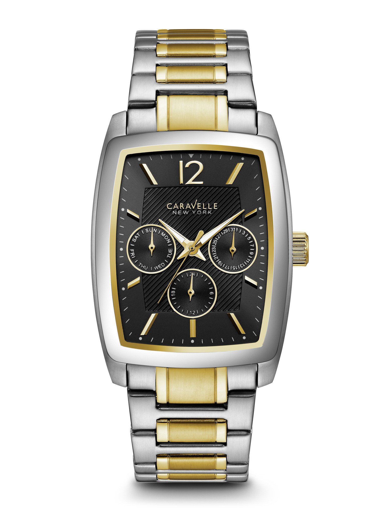 45C112 Caravelle New York by Bulova Men's Black Quartz Chronograph Dial Two-Tone Stainless Steel Watch