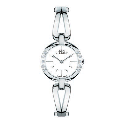 7101395 Ladies' ESQ Movado Corbel Diamond Accent Bangle Watch with White Dial