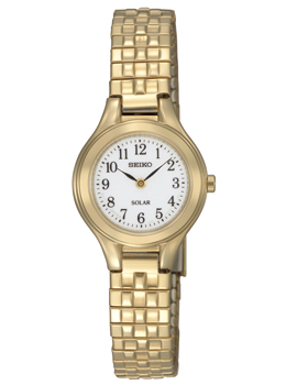 SUP102 Seiko Women's Solar Stainless Steel Gold Tone Expansion Watch