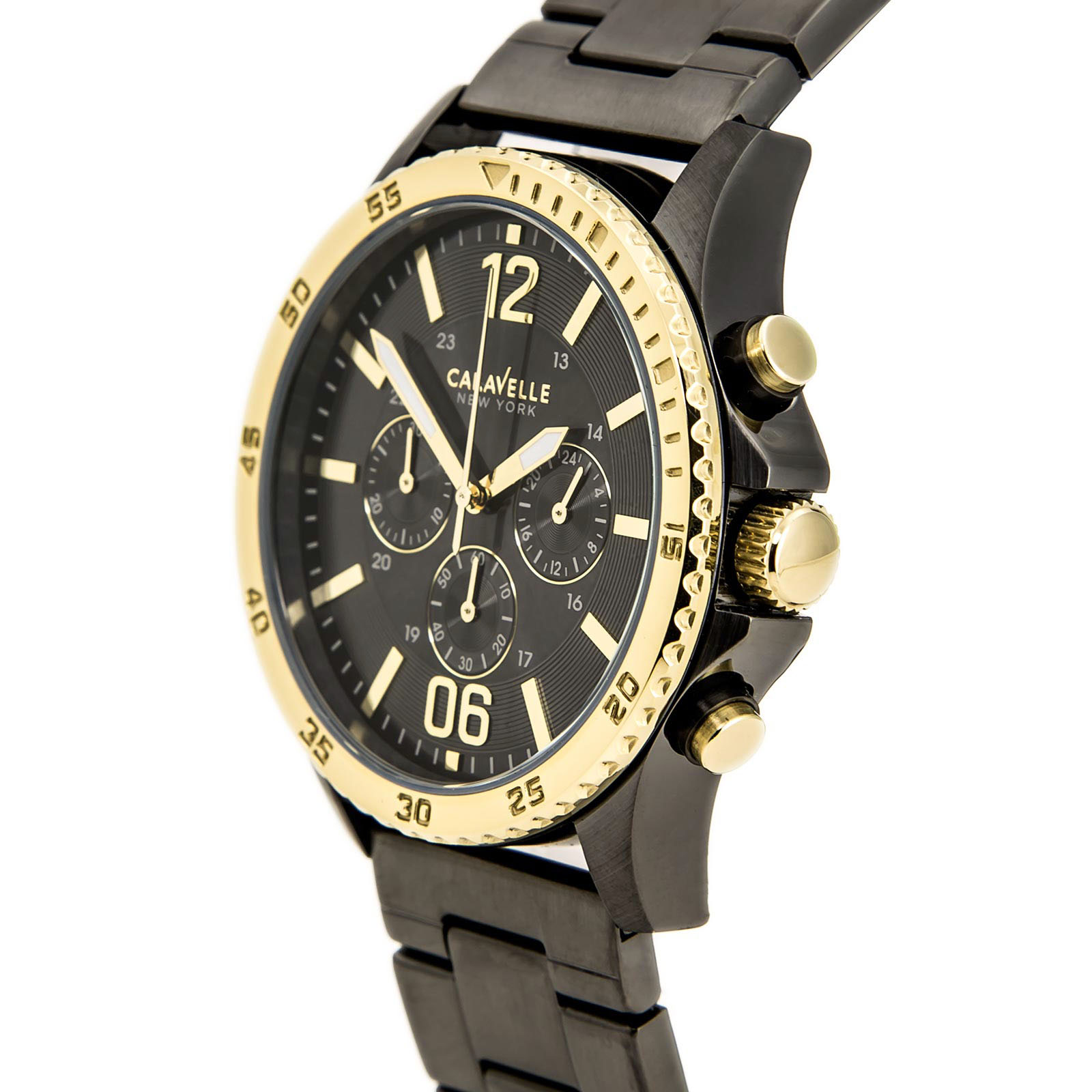 45A119 Caravelle New York Men's Analog Chronograph Display Japanese Quartz Black Watch