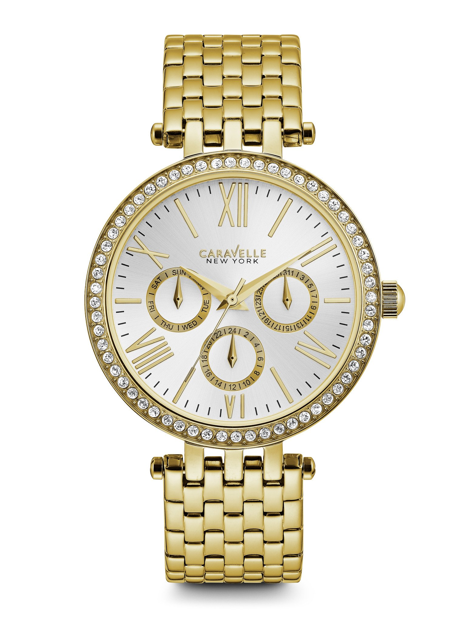 44N109 Caravelle New York by Bulova Ladies Crystal Silver Chronograph Dial Yellow Gold Stainless Steel Watch