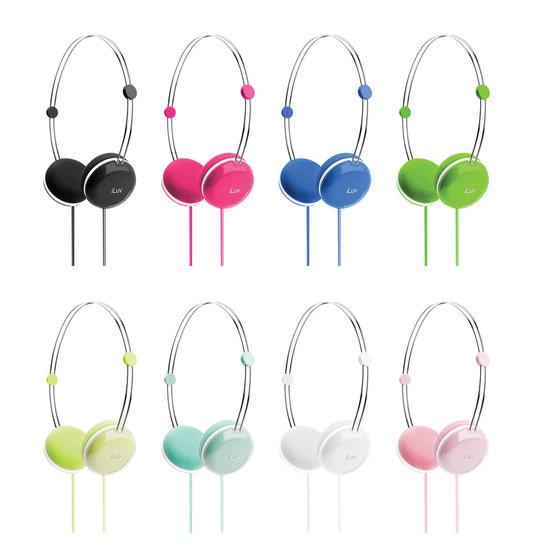 iHP613 iLuv Sweet Cotton Candy  High-Fidelity Stereo Headphones with SpeakEZ Remote for iPad/iPod/iPhone