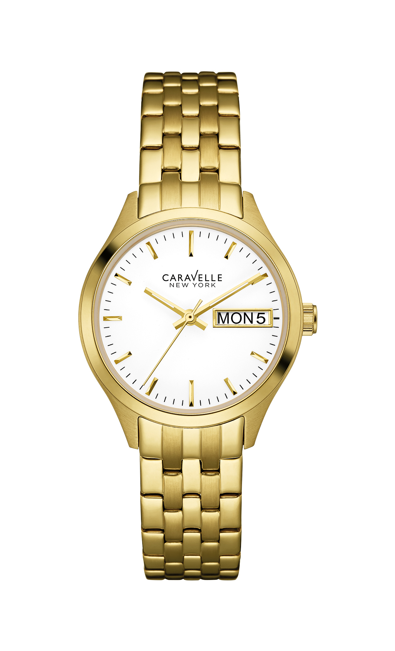 44N107 Caravelle New York Ladies Corporate Exclusive Gold Stainless Steel White Dial Watch
