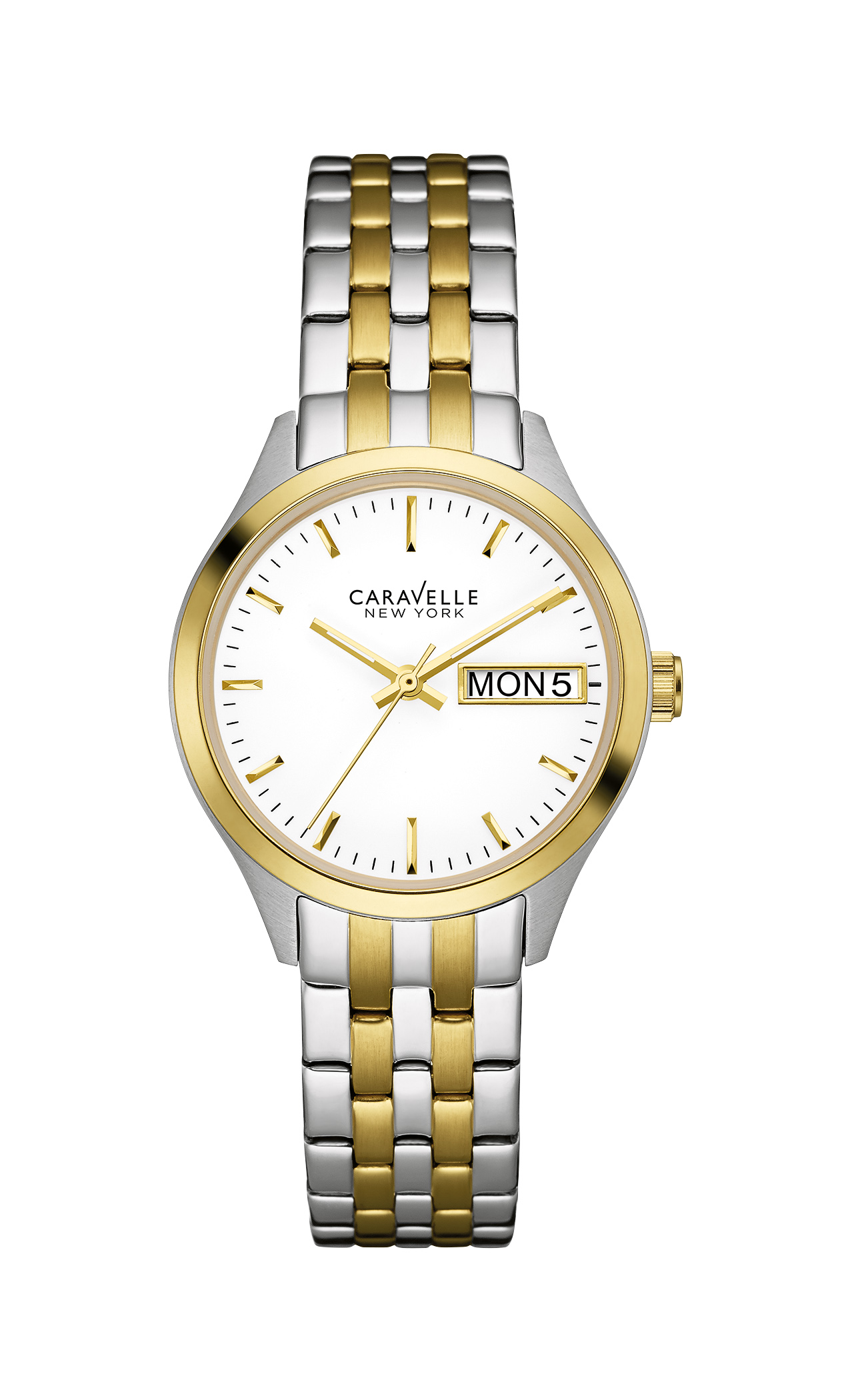 45N102 Caravelle New York Ladies Corporate Exclusive Two-Tone Stainless Steel White Dial Watch