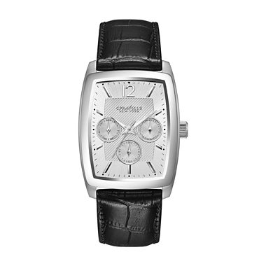 43C116 Caravelle NY by Bulova Men's Black Strap Silver Tone Chronograph Dial Watch
