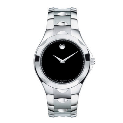0606378 Movado Men's Luno Stainless Steel Watch with Black Dial