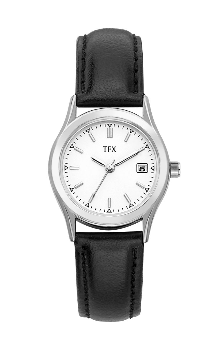 36M104 Bulova TFX Collection Ladies' Stainless Steel Watch w/ Black Leather Strap