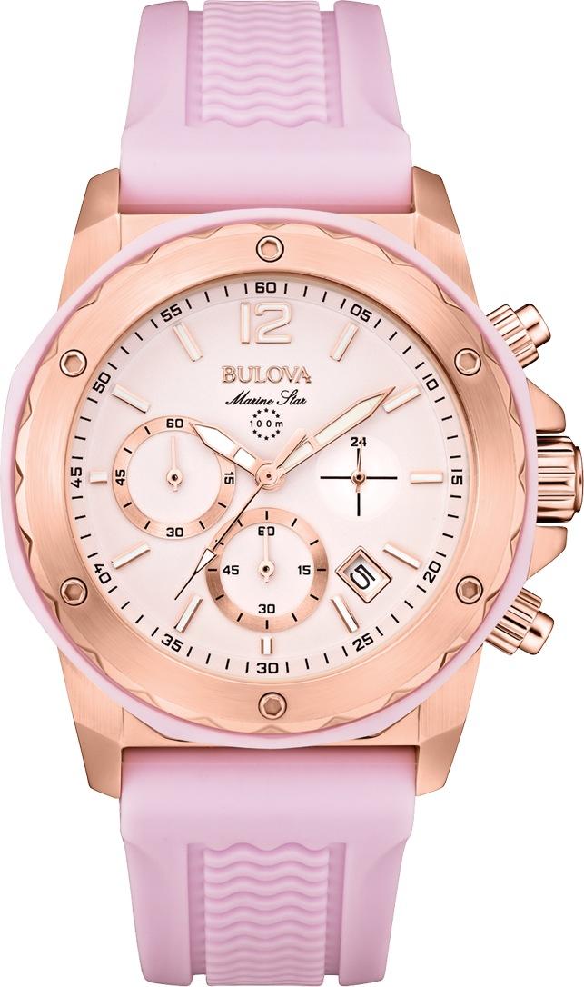 98M118 Bulova Women's Chronograph Marine Star Pink Silicone Strap