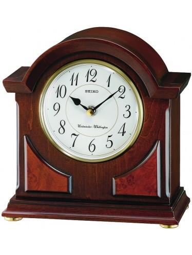 QXJ012BLH Seiko Brown Wooden Mantle Clock - White Dial