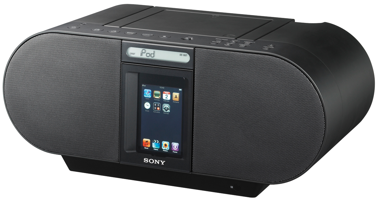 ZS-S4IPBlack CD Boombox for iPod and iPhone