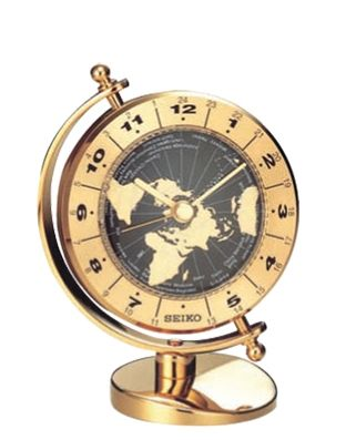 QHG106GLH Seiko World Time Bezel Desk & Table Clock