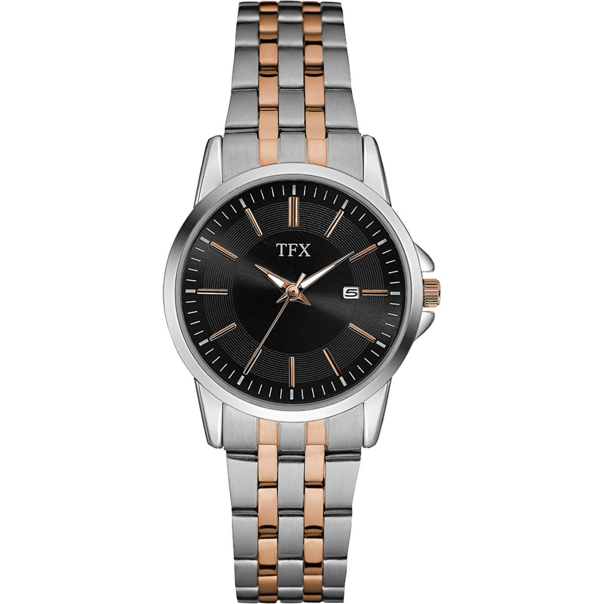 38M101 TFX Women's Stainless Steel and Rose Gold Bracelet Watch