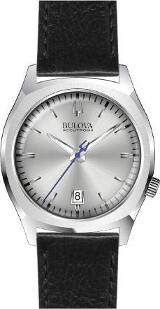 96B213 Bulova Accutron II Case 4 Silver Dial Black Leather Strap Watch