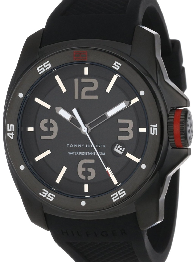 1790708 Tommy Hilfiger Men's Black Silicone Strap Watch