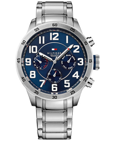 1791053 Tommy Hilfiger Men's Stainless Steel Bracelet Blue Chronograph Dial Watch