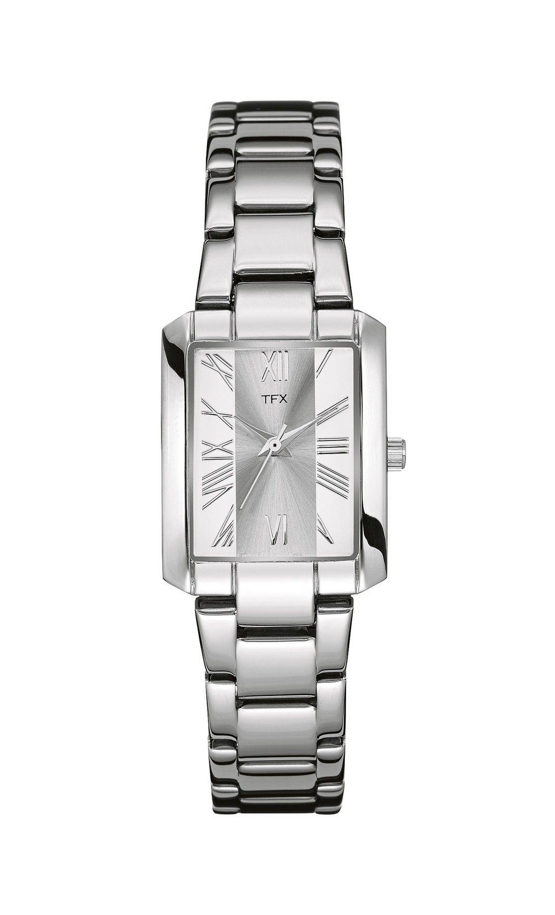 36T116 Bulova TFX Collection Ladies Tank Steel Bracelet Watch w/ Rectangle Dial