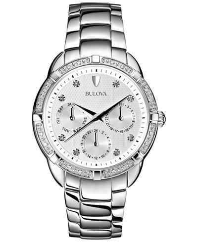 96R195 Bulova Womens Diamond Accent Stainless Steel Bracelet Chronograph Watch