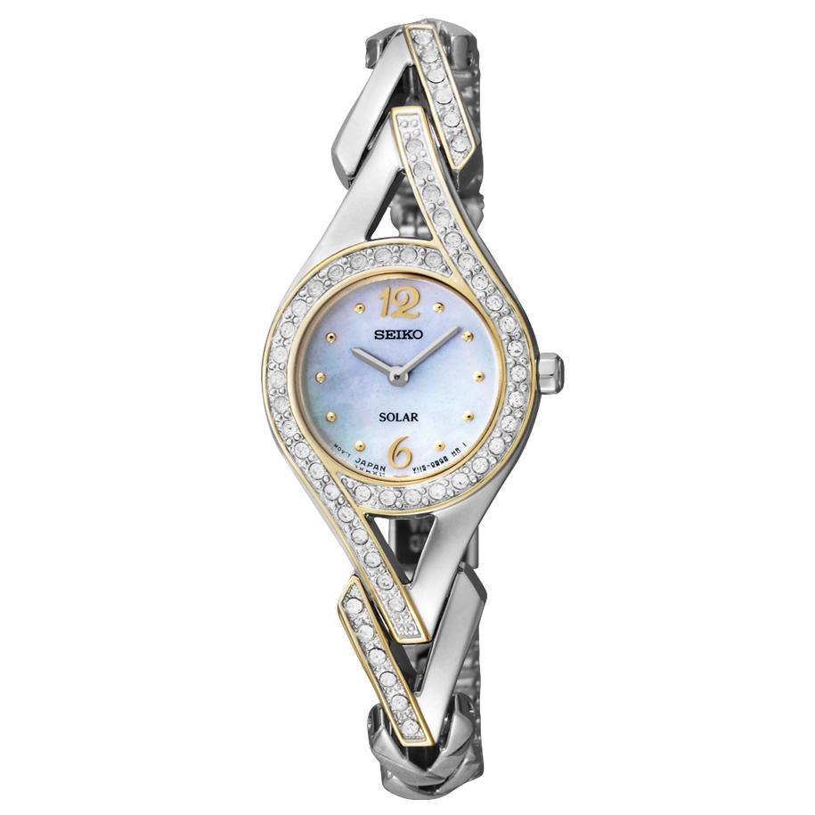 SUP174 Seiko Women's Solar Two-Tone Swarovski Stainless Steel Watch